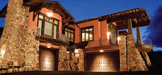 a residence garage door with light